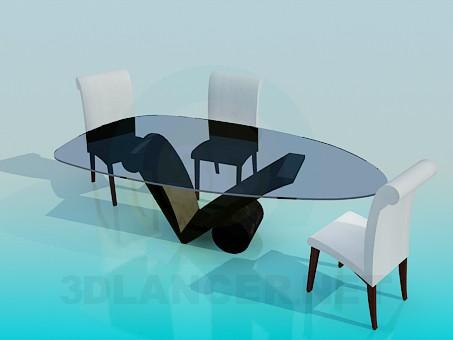 modelo 3D Mesa con sillas en la sala de estar - escuchar