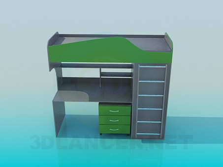 3d model Table-bed in the nursery - preview