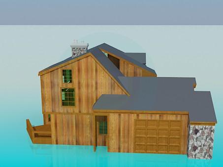 3d modeling Wooden house model free download