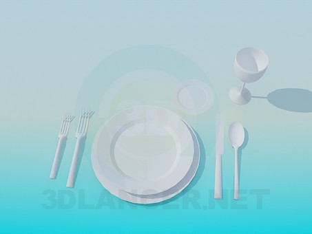 3d model Plates with cutlery - preview