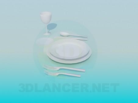 3d модель Тарелки со столовыми приборами – превью