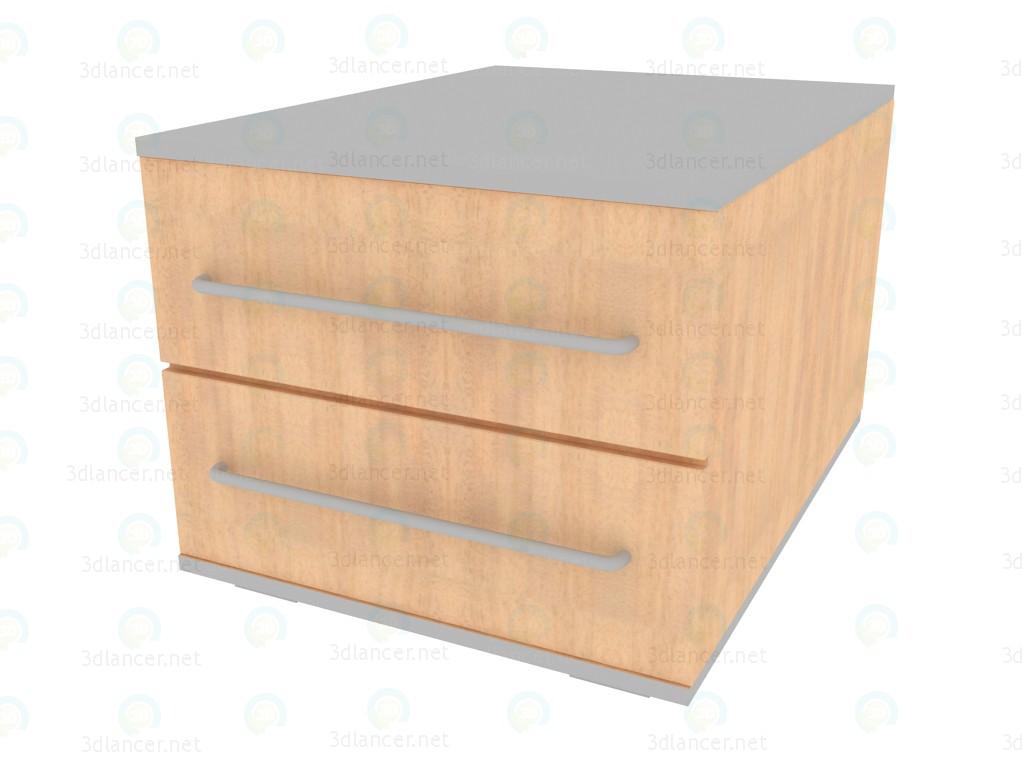 3D Modell Nachttisch mit 2 Schubladen NM225_20-25 - Vorschau
