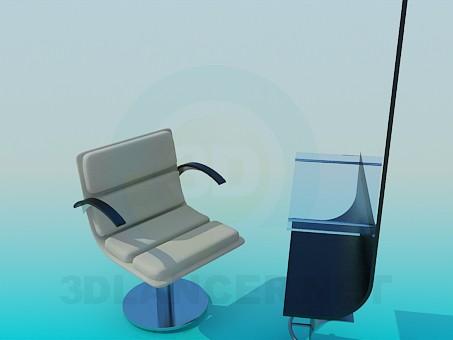 3d модель Рабочее место парикмахера – превью