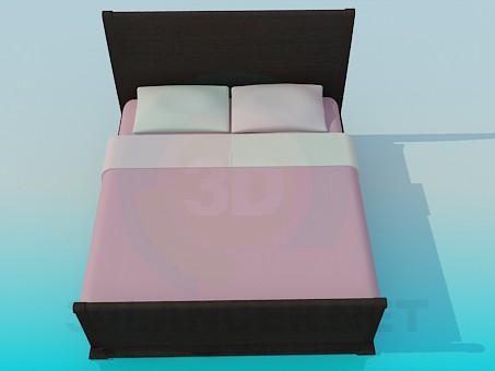 3d моделирование Двуспальная кровать модель скачать бесплатно