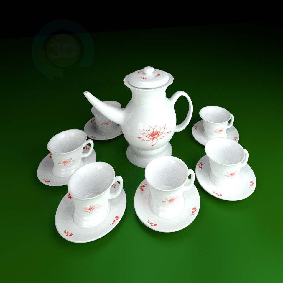 3d модель Чайный набор 2 – превью
