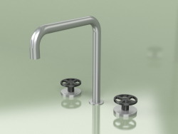 Three-hole mixer with swivel spout (20 32 V, AS-ON)