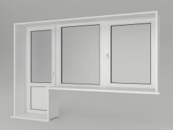 Uma janela com uma porta de varanda