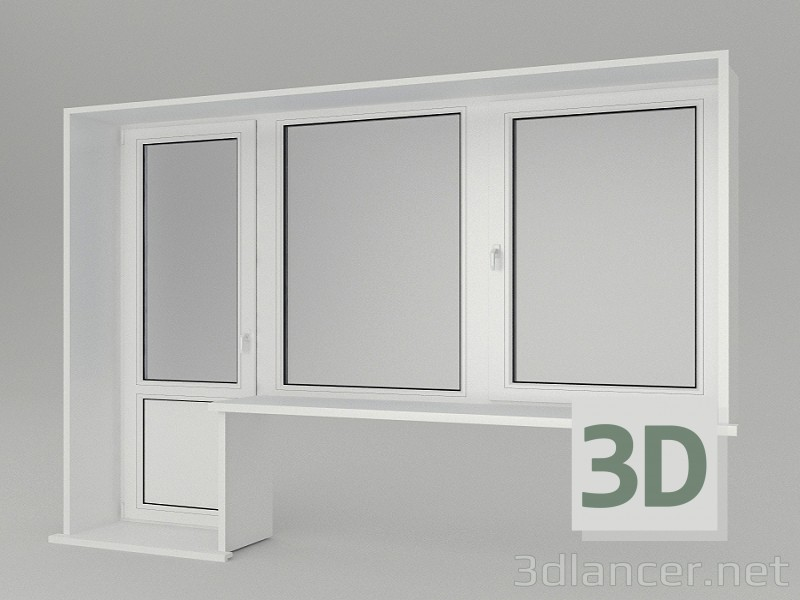 3d model A window with a balcony door - preview