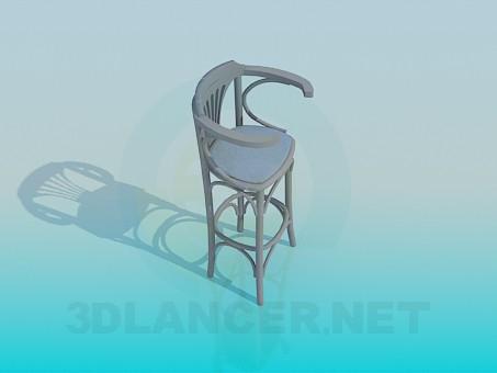 3d модель Деревянный стул для барной стойки – превью