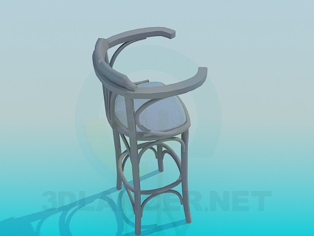 3d модель Дерев'яний стілець для барної стійки – превью
