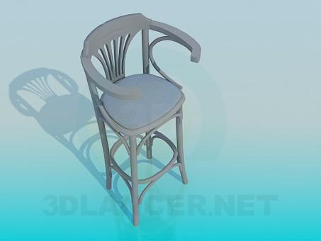 modelo 3D Silla de madera para la barra - escuchar