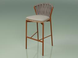 Bar stool 250 (Metal Rust, Teak, Padded Belt Gray-Sand)