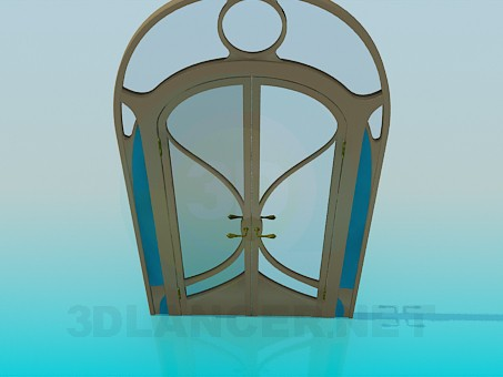 3d modeling Double door with glass inserts model free download