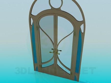 modelo 3D Puerta doble con cristal - escuchar