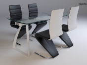 Set_LONDON (LONDON) transparent table with chairs Signal H-669 black