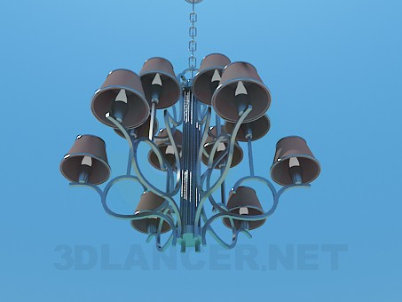 3d model Chandelier with ceiling paintings in 2 levels - preview