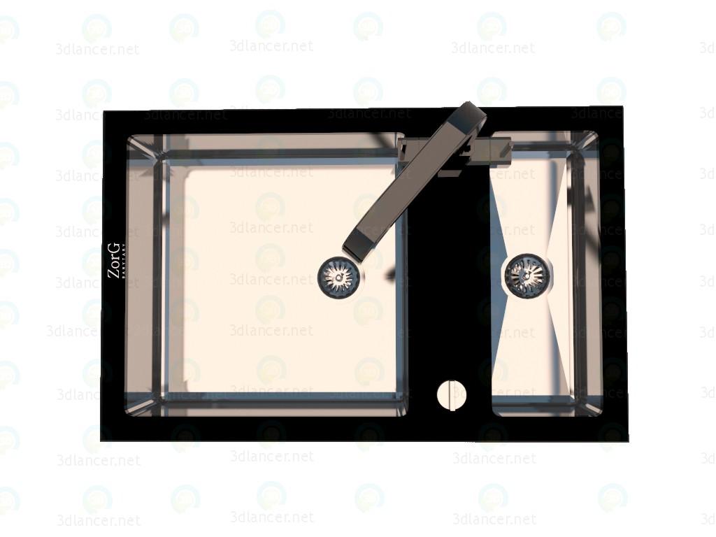 3d Кухонная мойка со смесителем Zorg модель купить - ракурс