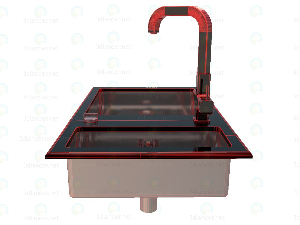 3d Kitchen sink with mixer Zorg model buy - render