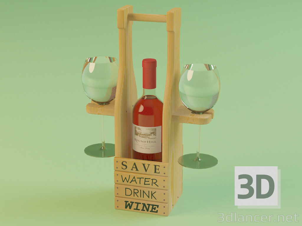 3d Stand for a bottle of wine and glasses model buy - render