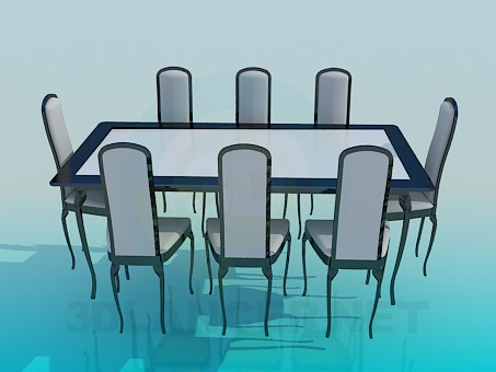 3d modeling Dining table and chairs set model free download