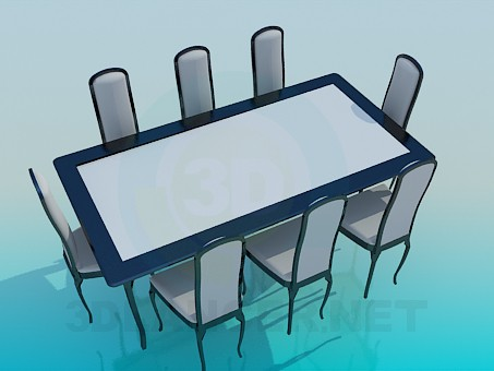 3d model Dining table and chairs set - preview