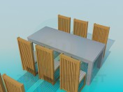 Tables with chairs for restaurant