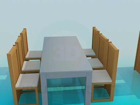 3d model Tables with chairs for restaurant - preview