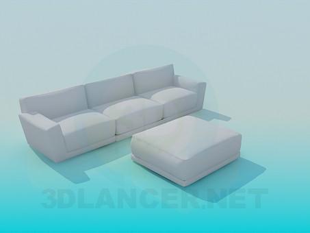 modelo 3D Sofá con otomana - escuchar