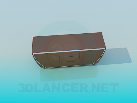 3d model Wide bedside cabinet - preview