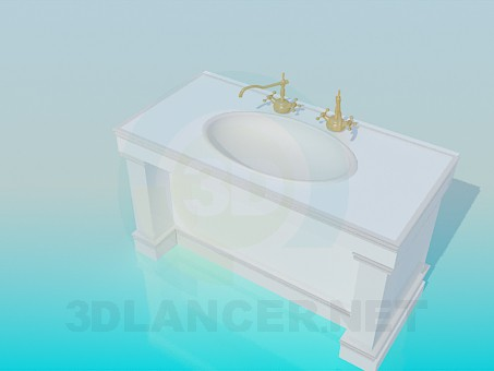 3d model Wash-stand with old cranes - preview