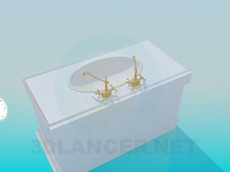 3d модель Умивальник зі старовинними кранами – превью