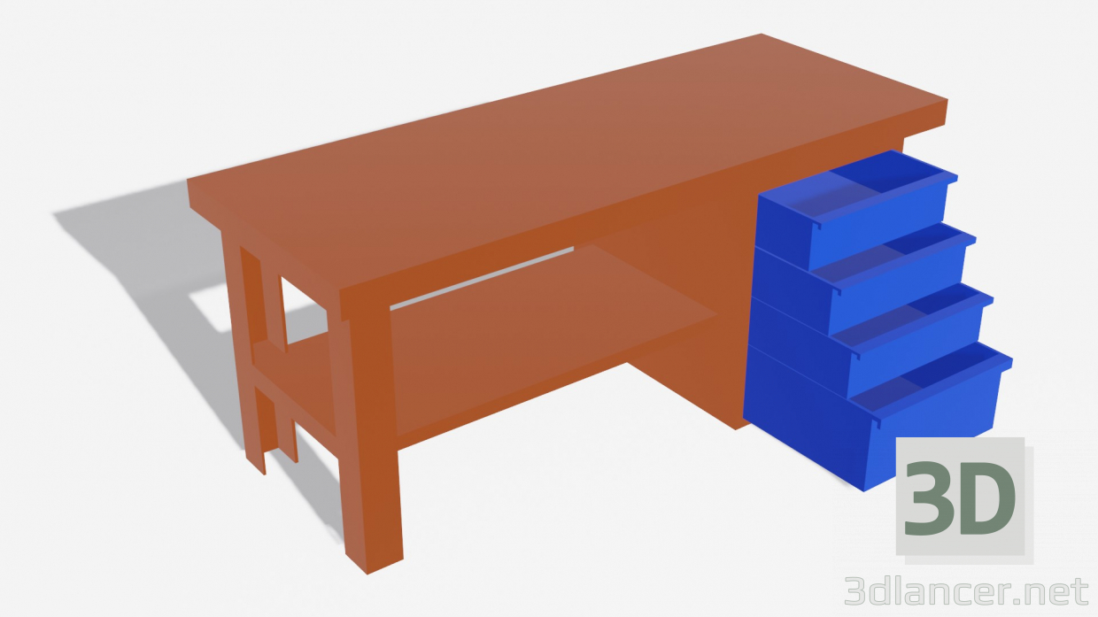 3d model Table with drawers - preview