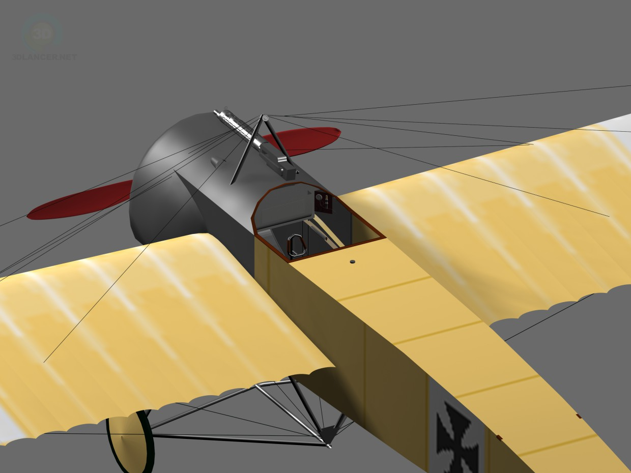 3d model fokker eindecker world war 1 fighter aircraft - preview