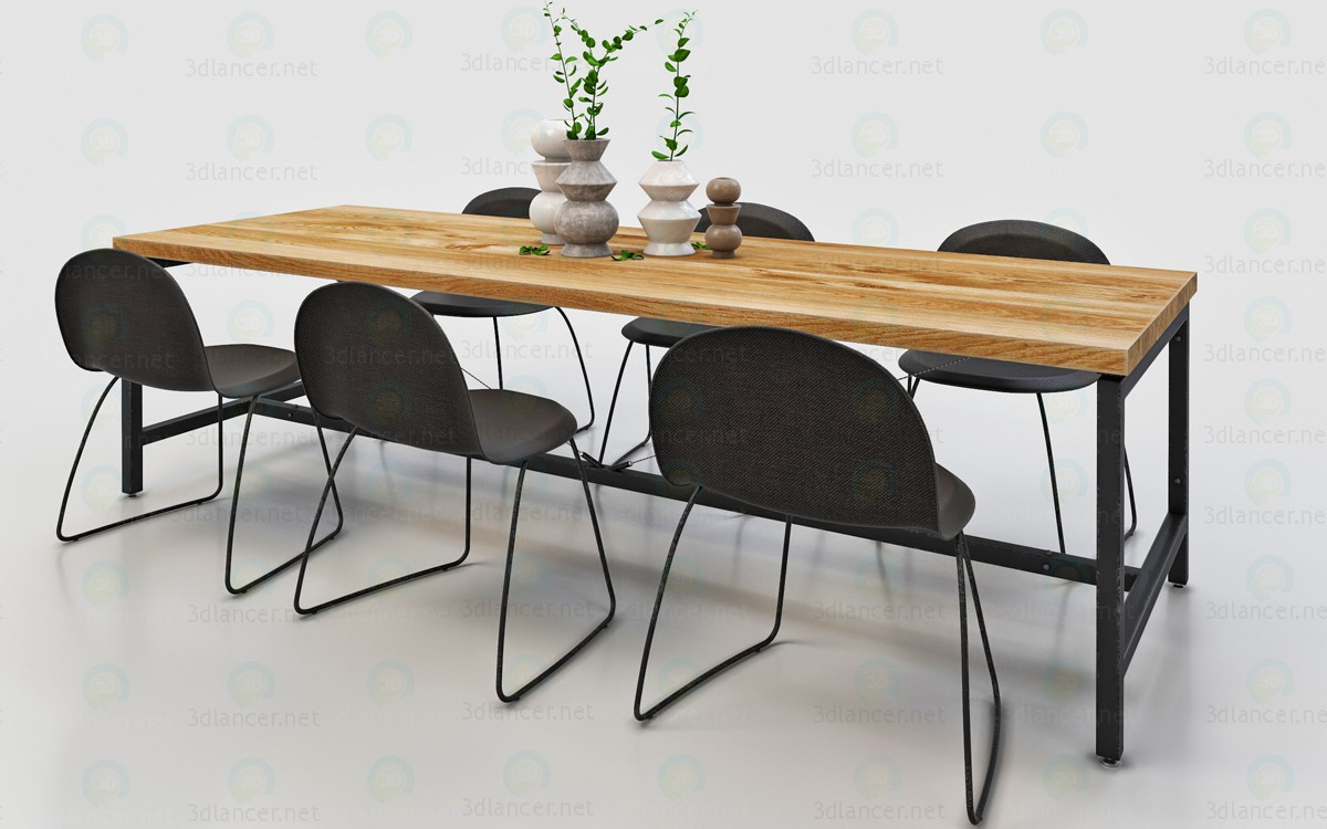 3d Dining table for 6-8 seats model buy - render