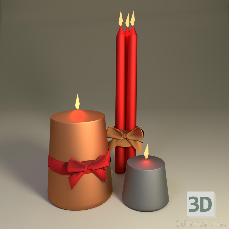 3 डी क्रिसमस मोमबत्तियाँ मॉडल खरीद - रेंडर