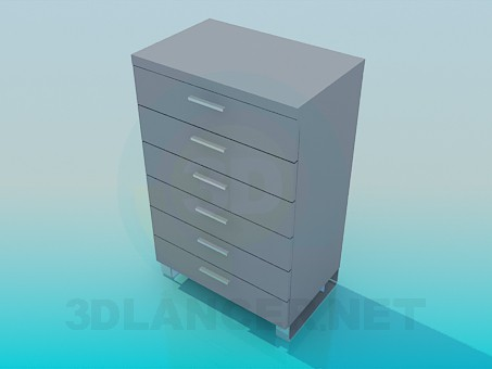 3d model Tall narrow chest of drawers - preview