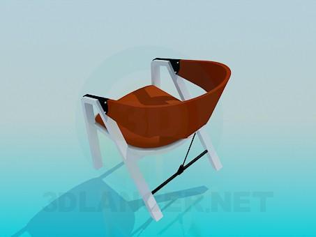 modelo 3D Silla con patas de madera - escuchar