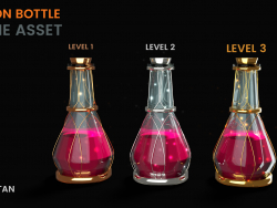 3D Poison Bottle - Game asset Level based