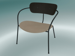 Chair Pavilion (AV6, H 70cm, 65x69cm, Walnut, Leather - Silk Aniline)