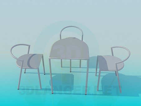 3d модель Столик у кафе – превью