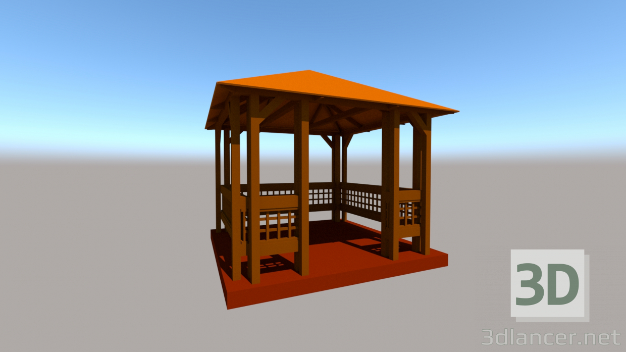 3d summer house model buy - render