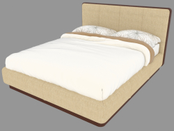Double bed with base of natural wood Ermes