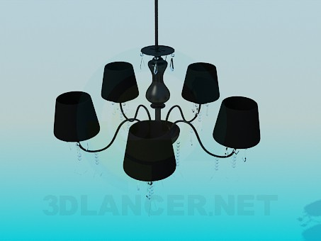 3d modeling Dark chandelier with glass spirals model free download