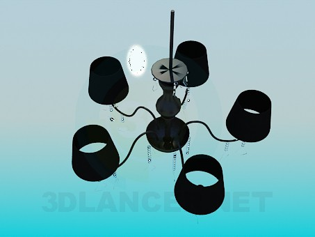 3d model Dark chandelier with glass spirals - preview