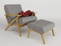 lounge_armchair_with_pouf (Wooden lounge chair with pouf)