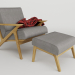 3d lounge_armchair_with_pouf (Wooden lounge chair with pouf) model buy - render