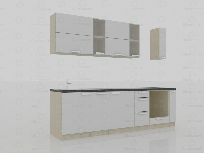 3d модель Кухня 2800х600х2200(h) минимализм – превью