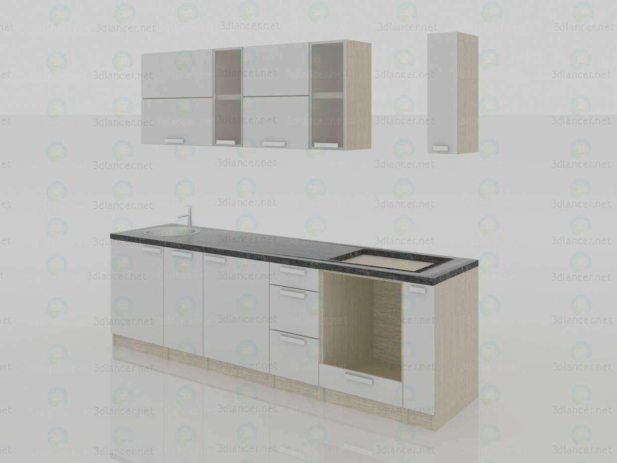 3d modeling Kitchen 2800x600x2200(h) minimalism model free download