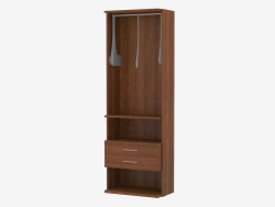 The element of the furniture wall with a crossbar for hangers and drawers