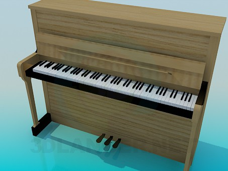 3d модель Деревянное пианино – превью